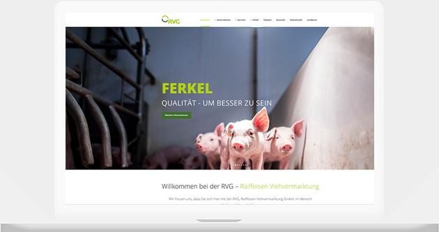 Unsere Arbeiten auf dem Laptop - Webdesign. Beispiel RVG erstellt von der Werbeagentur Medien Formen Werte aus Münster.