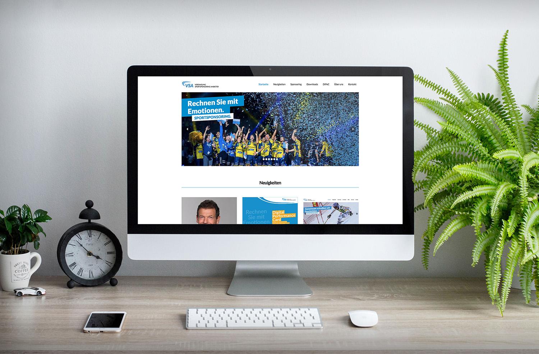 Websitenscreen der VSA. Website erstellt von der Werbeagentur Medien Formen Werte aus Münster.