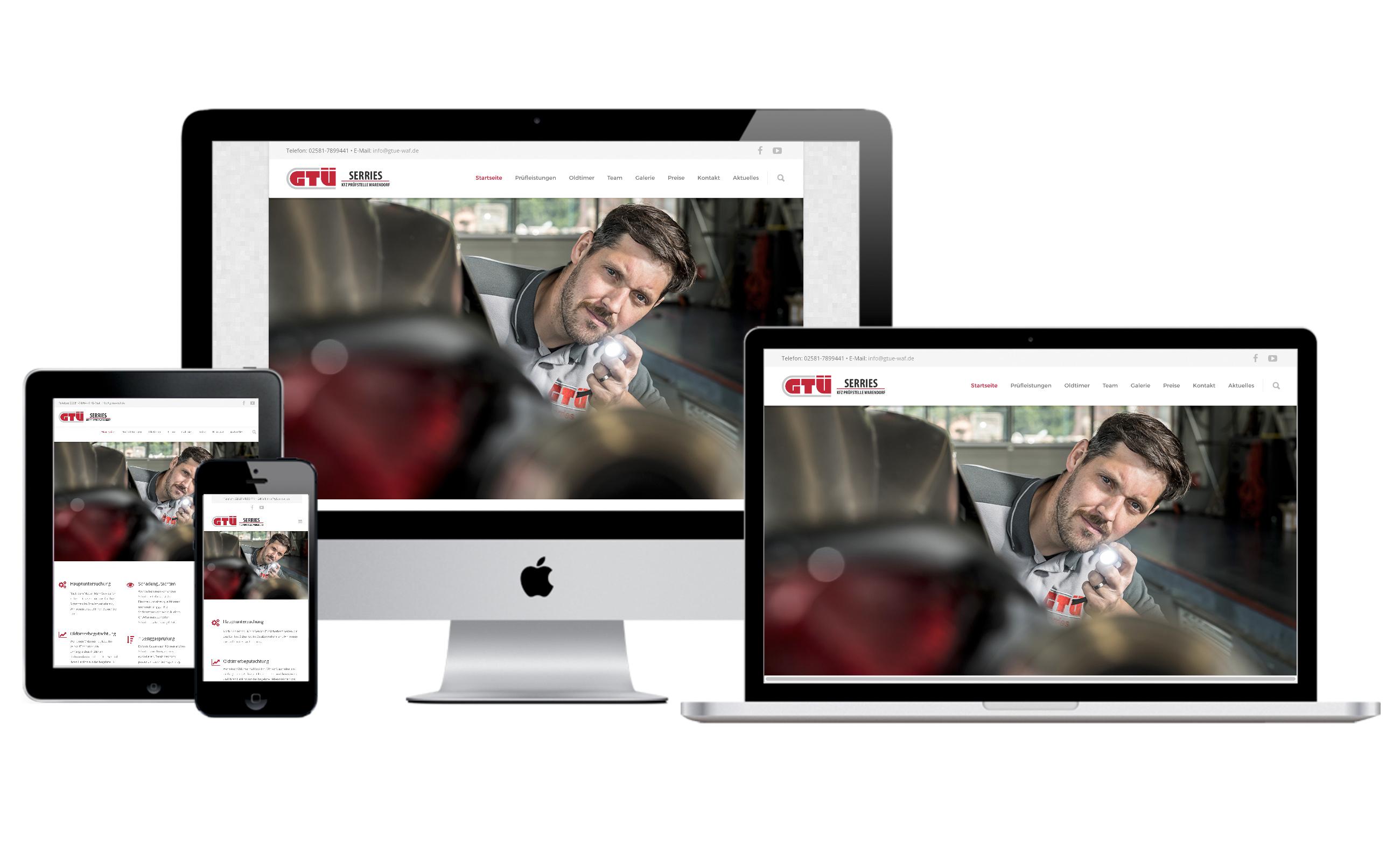 Websitenscreens der GTÜ Warendorf für verschiedene Formate. Von der Werbeagentur Medien Formen Werte aus Münster erstellt.