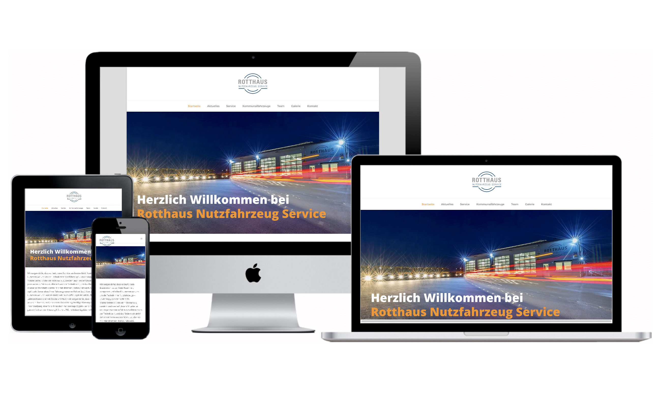 Websitenscreens des Rotthaus Nutzfahrzeuge Service für verschiedene Formate. Von der Werbeagentur Medien Formen Werte aus Münster erstellt.