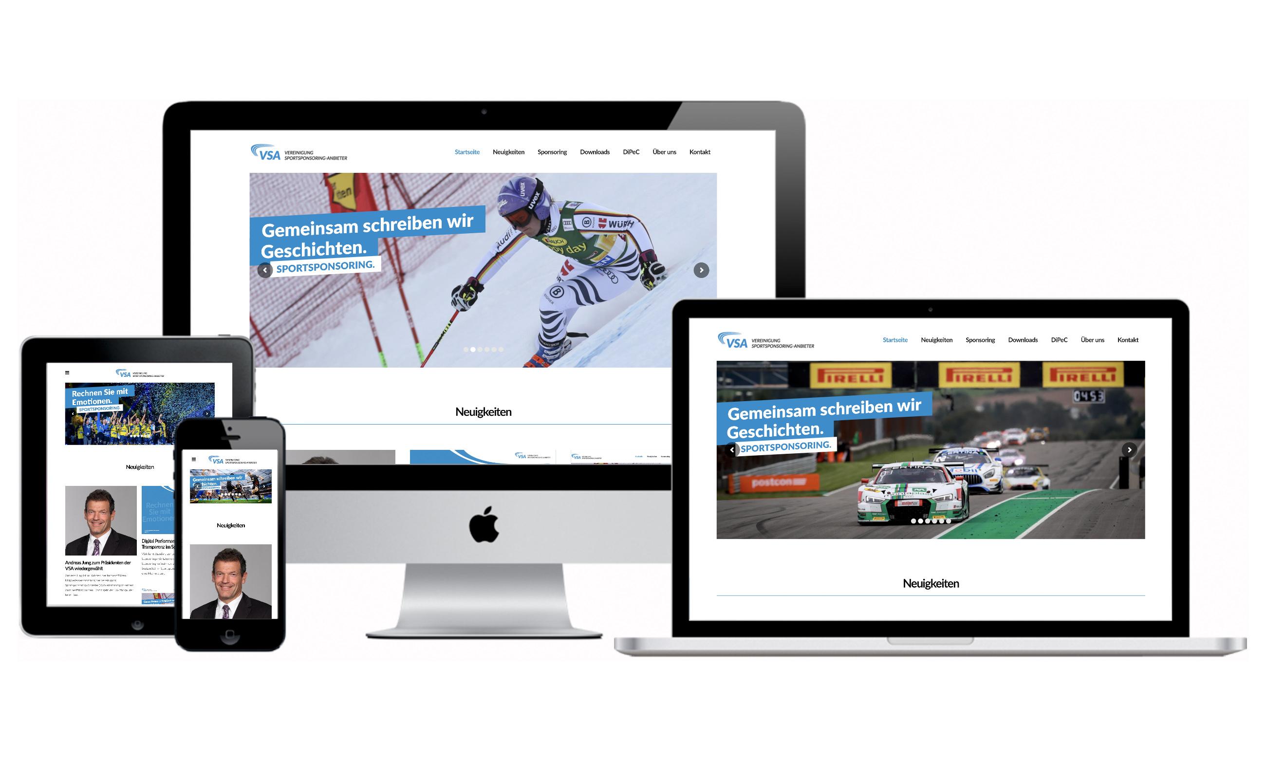 Websitenscreens der VSA für verschiedene Formate. Von der Werbeagentur Medien Formen Werte aus Münster erstellt.