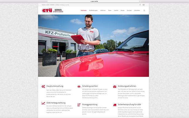 GTÜ Screenshot der neuen Webseite die durch die Werbeagentur Medien Formen Werte aus Münster erstellt wurde