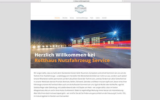 Rotthaus Nutzfahrzeug Service Screenshot der neuen Webseite die durch die Werbeagentur Medien Formen Werte aus Münster erstellt wurde