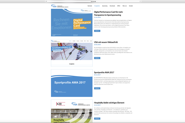 Websiten Screenshot der VSA. Von der Werbeagentur Medien Formen Werte aus Münster erstellt.