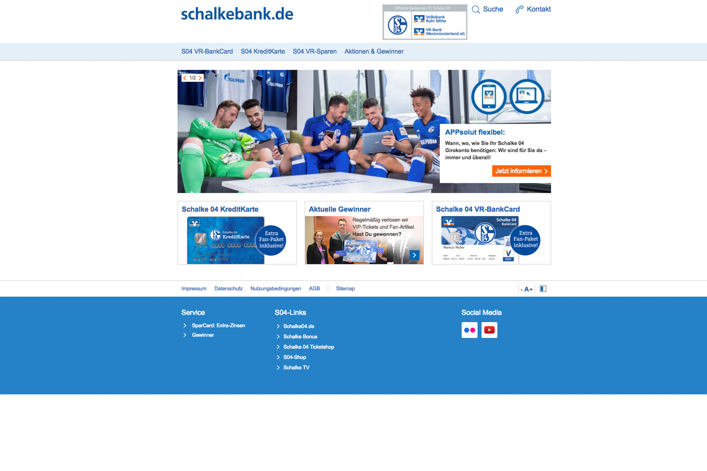 Website der Volksbank mit Fußballspielern des FC Schalke 04 durchgeführt von der Werbeagentur Medien Formen Werte aus Münster